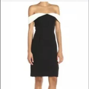 Calvin Klein off shoulder black white sheath dress